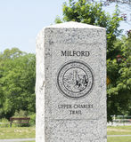 Den Milford upperen Charles Trail Beginning Marker Royaltyfria Bilder