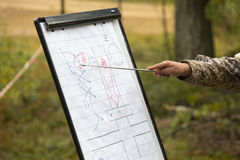 Den militära instruktören förklarar position på övning arkivbild