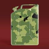 Den militära kanistern för bränsle för kamouflagemetallbensindunken framför isolerat Royaltyfri Bild