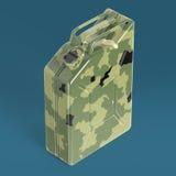 Den militära kanistern för bränsle för kamouflagemetallbensindunken framför isolerat Fotografering för Bildbyråer