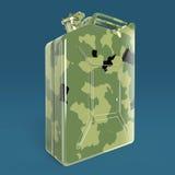 Den militära kanistern för bränsle för kamouflagemetallbensindunken framför isolerat Arkivbilder