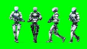 Den militära roboten går med vapnet Realistiska rörelse och reflexioner skärmlängd i fot räknat för gräsplan 4K stock illustrationer