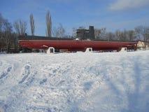 Den militära ubåten i snön parkerar Royaltyfria Bilder