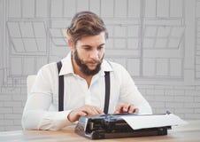 Den Millennial mannen på skrivmaskinen mot lilor och grå färger räcker utdragna fönster royaltyfri foto