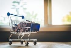 Den mini- shoppingvagnen innehåller USA-mynt Fotografering för Bildbyråer