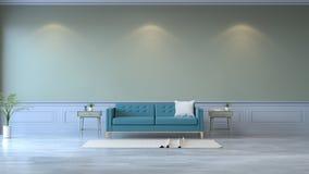 Den Minimalist ruminre, den blåa soffan på den wood durken och gräsplanväggen /3d framför Royaltyfri Bild