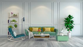 Den Minimalist ruminredesignen, den gröna fåtöljen och soffan på det vit golvet och vit inramar vägg/3d rende Arkivbild