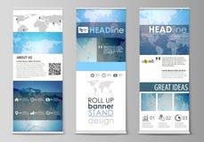 Den minimalistic vektorillustrationen av den redigerbara orienteringen av rullar upp banerställningar, vertikala reklamblad, flag royaltyfri illustrationer
