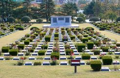 Den minnes- kyrkogården för Förenta Nationerna i Korea Arkivbilder