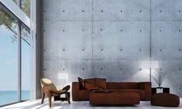 Den minsta designen och betongväggen för vardagsrumsoffa- och vardagsruminre mönstrar bakgrund Royaltyfri Fotografi