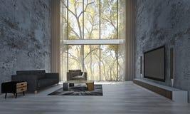 Den minsta designen och betongväggen för vardagsrumsoffa- och vardagsruminre mönstrar bakgrund Royaltyfria Foton