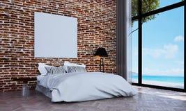 Den minsta lyxiga sovruminredesignen och väggen för röd tegelsten mönstrar bakgrunds- och havssikt Fotografering för Bildbyråer