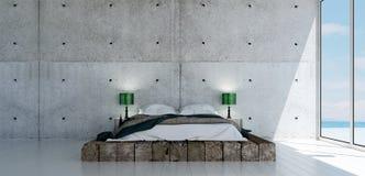 Den minsta sovruminredesignen och träväggen mönstrar bakgrund Fotografering för Bildbyråer