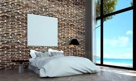 Den minsta sovruminredesignen och väggen för röd tegelsten mönstrar bakgrunds- och havssikt Royaltyfria Foton