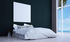 Den minsta sovruminredesignen och väggen mönstrar bakgrunds- och havssikt Royaltyfria Bilder
