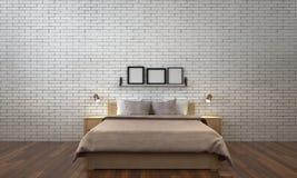 Den minsta sovruminredesignen och vittegelstenväggen mönstrar bakgrund Royaltyfri Fotografi