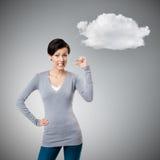 Den missbelåtna kvinnan göra en gest liten mängd Arkivfoton