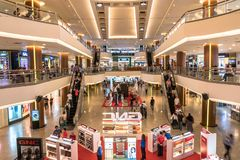 Den mitt- dalen Megamall är en shoppinggalleria som lokaliseras i den mitt- dalstaden, Kuala Lumpur Det sitter på ingången av Pet Royaltyfri Foto