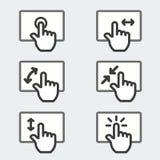 Den mång- telefonen för handlagblocket gör en gest den tunna linjen etikett för symbolen för logo för rengöringsdukteckensymbol Arkivbilder
