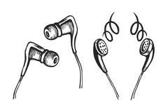 Den mobila hörlurar skissar uppsättningen Arkivfoton