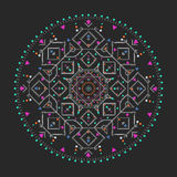 Den moderiktiga hipsteren färgade cirkeln, det ljusa filosofiska symbolet, runda beståndsdelar som är en klosterbroder, Royaltyfria Bilder