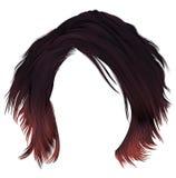 Den moderiktiga kvinnan rufsade till hårkare med mörk varicolored röd färgläggning för frans medellängd Två dekorativa baner Real Royaltyfria Bilder