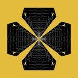 Den moderna abstrakta vektorn multiplicerar att upprepa det svartvita invecklade symbolklosterbroderkorset Royaltyfri Bild