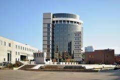 Den moderna arkitekturen i den gammala delen av den industriella staden Arkivbild