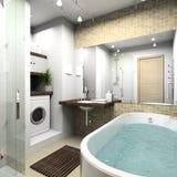 den moderna badrummen 3d framför Royaltyfri Fotografi