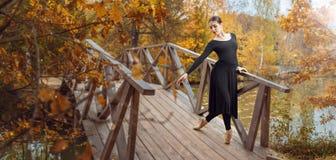 Den moderna balettdansören i hösten parkerar royaltyfria foton