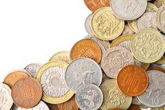 Den moderna britten myntar med kopierar utrymme Arkivbilder