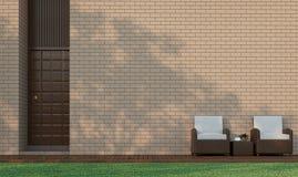 Den moderna byggnadsterrassen dekorerar väggen med bild för tolkning för tegelstenmodell 3d Arkivbild
