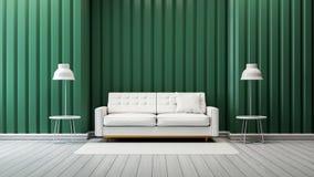 Den moderna designen för tappningvardagsruminre, den vita soffan och lampan med den gröna väggen /3d framför Arkivbild