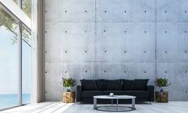 Den moderna designen för vardagsrumkorridor- och soffavardagsruminre och den röda betongväggen mönstrar bakgrunds- och havssikt