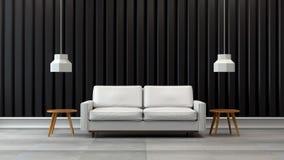 Den moderna designen för vindvardagsruminre, den vita soffan med den svarta väggen /3d framför Royaltyfri Fotografi