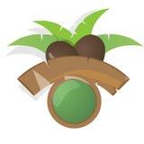 Den moderna etiketten med kokosnöten, gömma i handflatan och träbunner Royaltyfri Foto