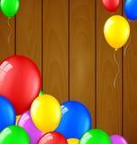 Den moderna födelsedagen sväller på träbakgrund Vektor Illustrationer