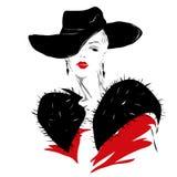 Den moderna flickan, skissar, röda kanter, trendig frisyr Royaltyfri Bild