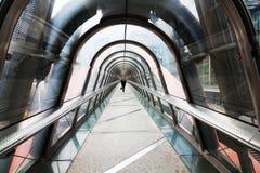 Den moderna gångaren överbryggar med den glass kupolen Royaltyfri Foto