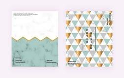 Den moderna geometriska designen med marmorerar textur, färgrika trianglar, blänker linjer Bakgrunder för banret, räkning, orient royaltyfri illustrationer