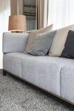 Den moderna gråa soffan med kuddar och den moderna lampan på tabellen sid i l Royaltyfri Foto
