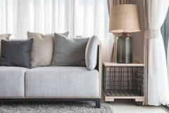 Den moderna gråa soffan med kuddar och den moderna lampan på tabellen sid i l Royaltyfria Bilder