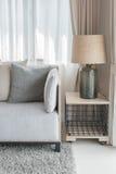 Den moderna gråa soffan med kuddar och den moderna lampan på tabellen sid i l Royaltyfria Foton