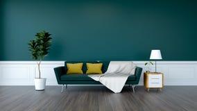 Den moderna gröna ruminredesignen, den gröna soffan och växten med det wood kabinettet på den wood durk- och gräsplanväggen /3d f Arkivbild