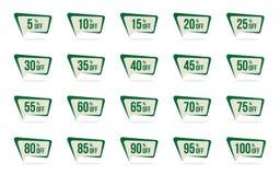 Den moderna gröna Sale och rabatterat prisetiketten ställde in vektorbefordranemblem märker designmallen stock illustrationer