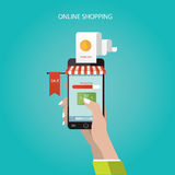 Den moderna illustrationen av online-lagret, online-shopping, lurar Royaltyfri Illustrationer