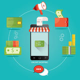 Den moderna illustrationen av online-lagret, online-shopping, lurar Stock Illustrationer