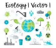 Den moderna illustrationen för vattenfärgdesignvektorn, begreppet av ekologi och besparingen jordar en kontakt miljöproblem Royaltyfria Bilder