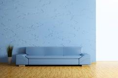 Den moderna inre med sofaen 3d framför Fotografering för Bildbyråer