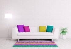 Den moderna inre med soffan 3d framför Arkivfoto